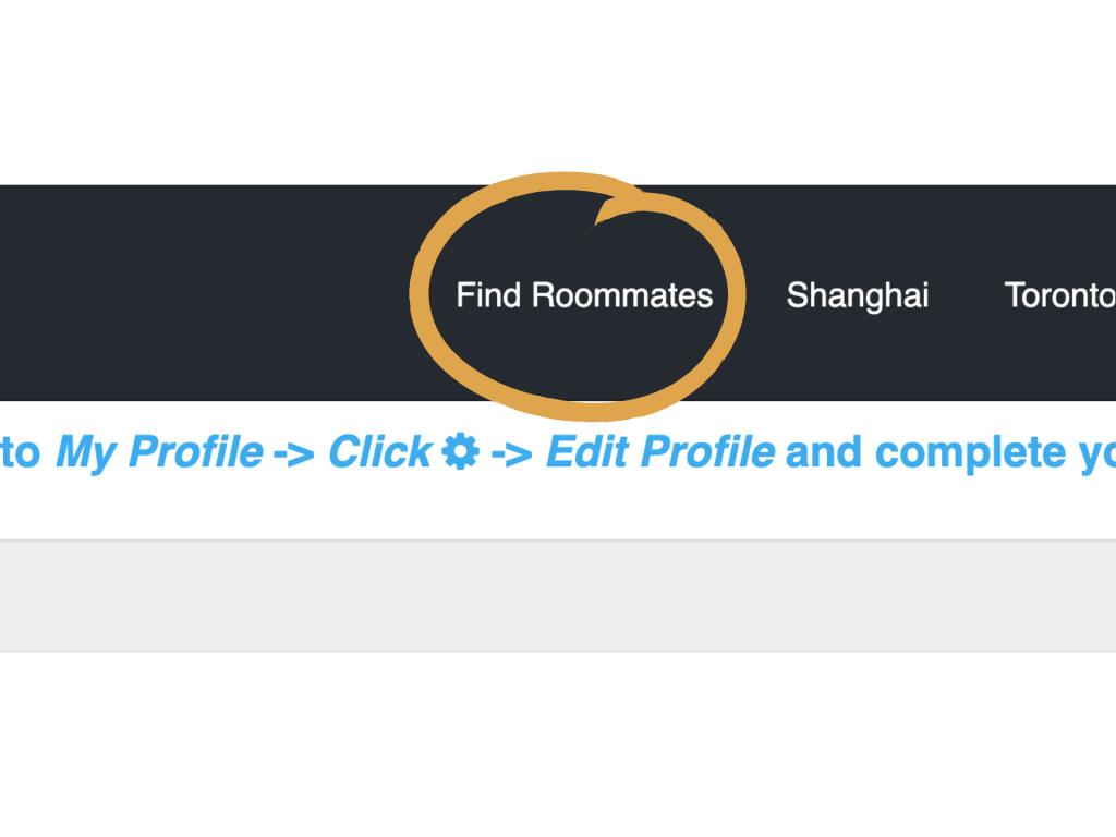 Find Roommates Menu